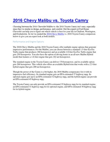 2016 Chevy Malibu Vs Toyota Camry Fred Beans Chevy By Dwoods1313 Issuu