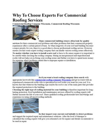 Why To Choose Experts For Commercial Roofing Services By Troyerroofing Issuu