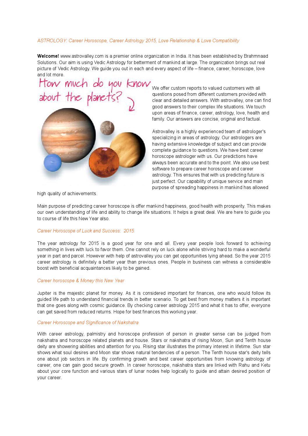 Career Astrology 2015, Career Horoscope, online astrologer by