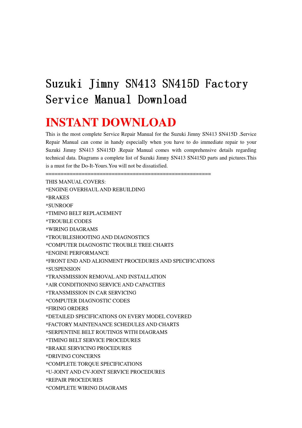 Suzuki       jimny       sn413       sn415d factory    service manual download