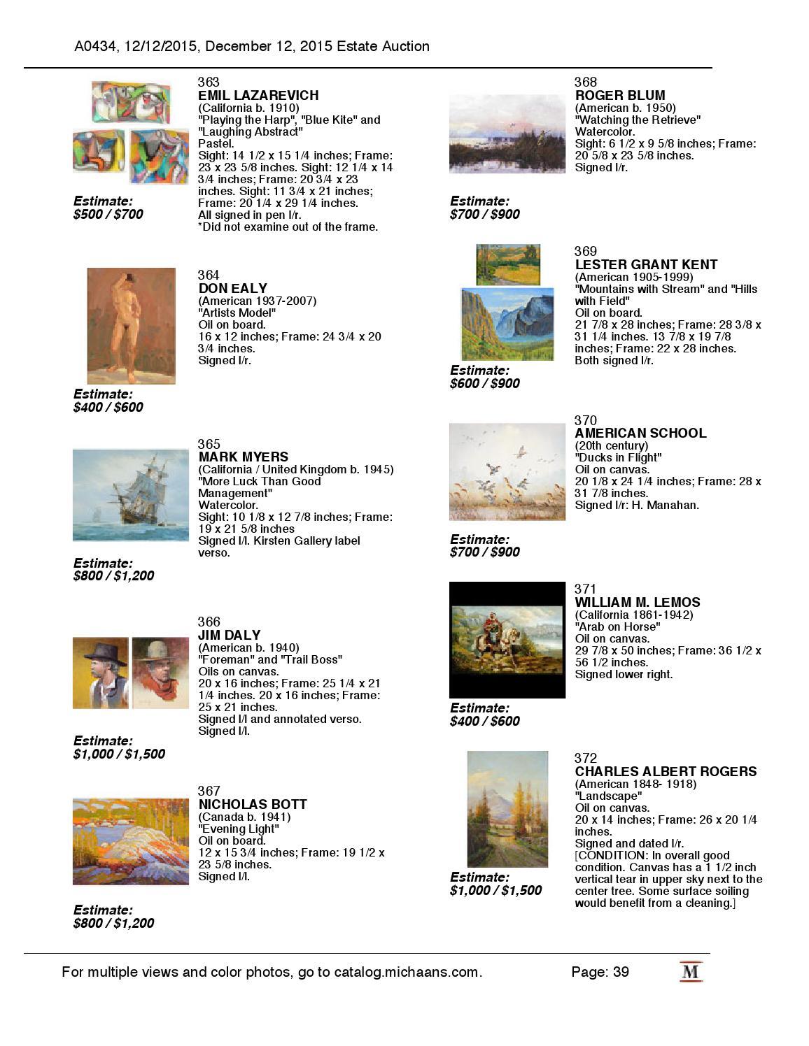 December Estate Auction Catalog By