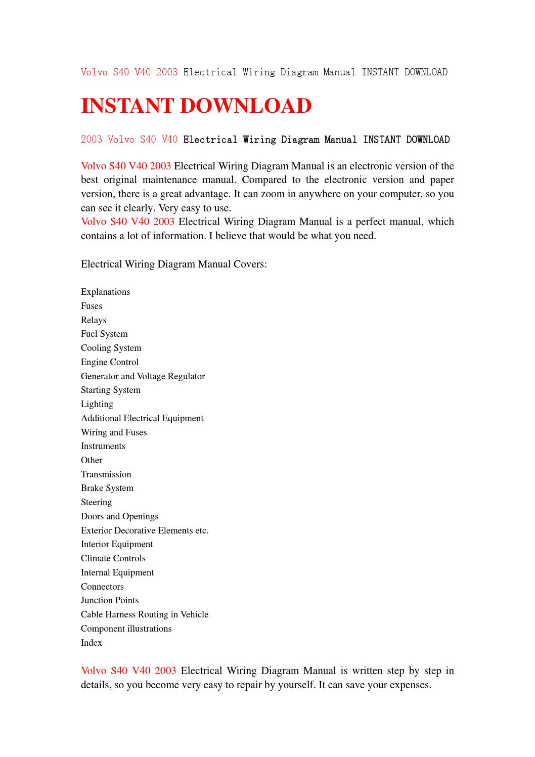 Volvo S40 V40 2003 Electrical Wiring Diagram Manual