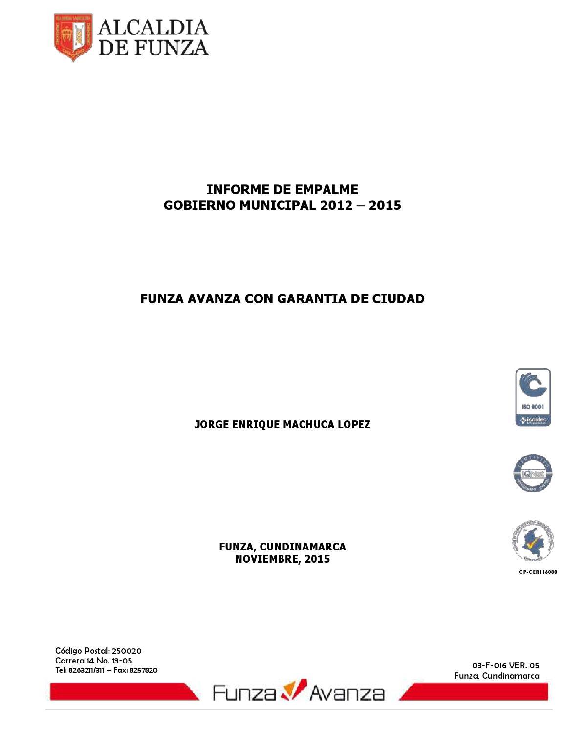Informe empalme 2012 -2015 by Oficina de Prensa Funza - issuu