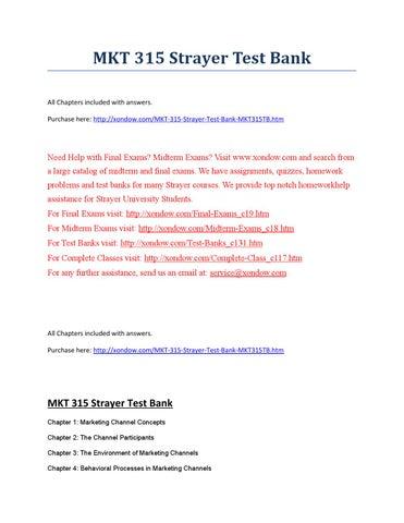 Mkt 315 Strayer Test Bank Strayer University New By Sarahaze