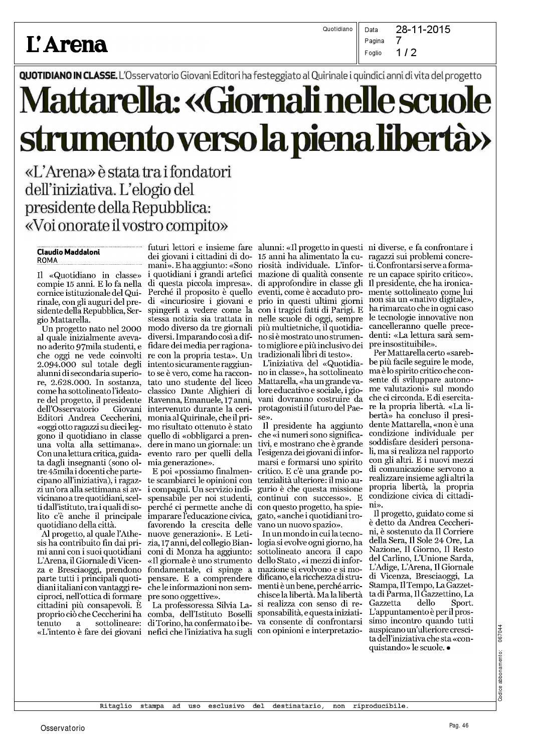 Rassegna Stampa 2015 Al 28 Novembre By Osservatorio Permanente Giovani Editori Issuu