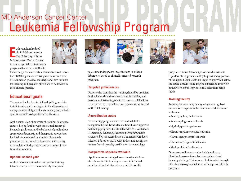 Leukemia Fellowship Brochure by MD Anderson Leukemia - issuu