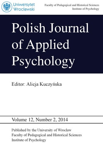 Polish journal of applied psychology volume 12 number 2 2014 by faculty of pedagogical and historical sciences institute of psychology fandeluxe Image collections