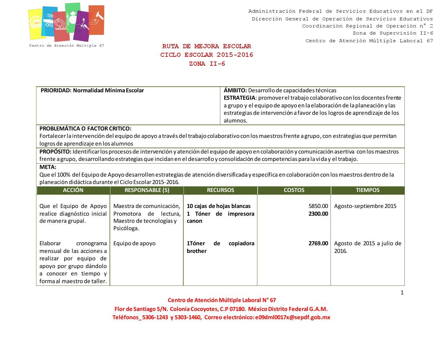Ruta de mejora 2015 2016 terminada by Carlos Pineda Luna - issuu