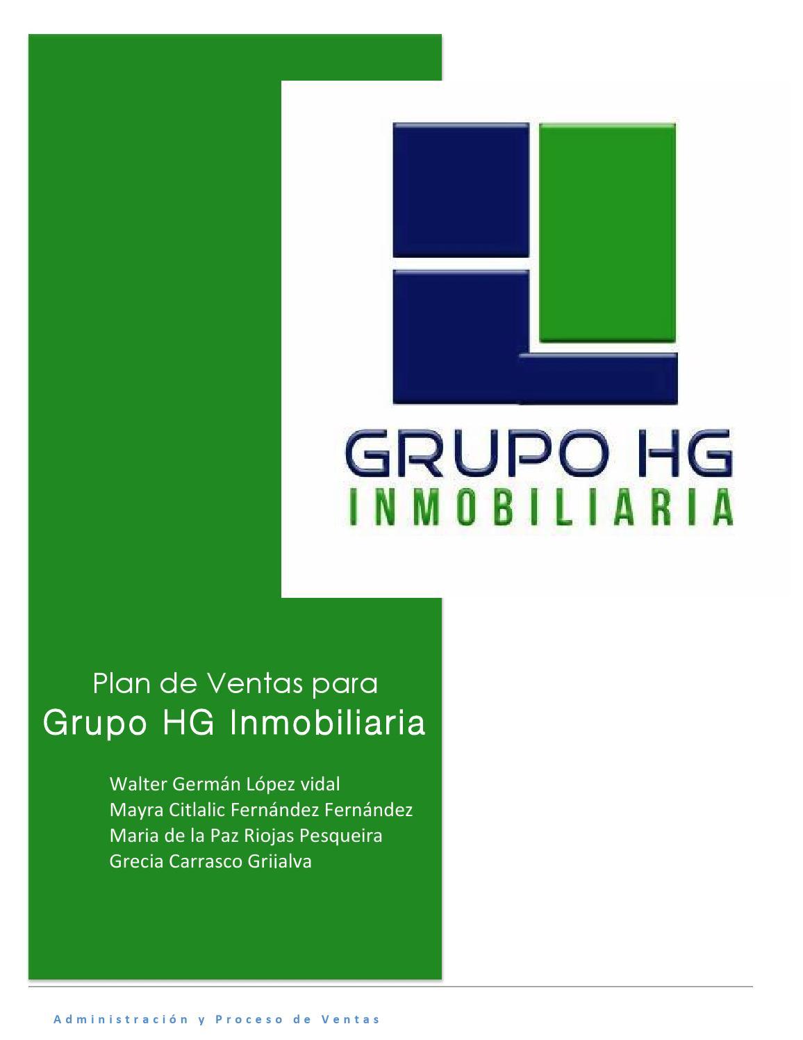Plan de ventas para grupo hg inmobiliaria by maripazriojas - issuu