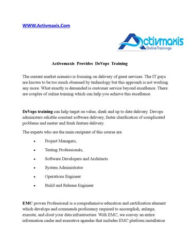 Activemaxis Provides DeVops Training by Activmaxis - issuu