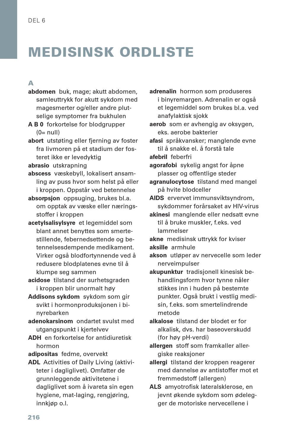 medisinsk ordliste