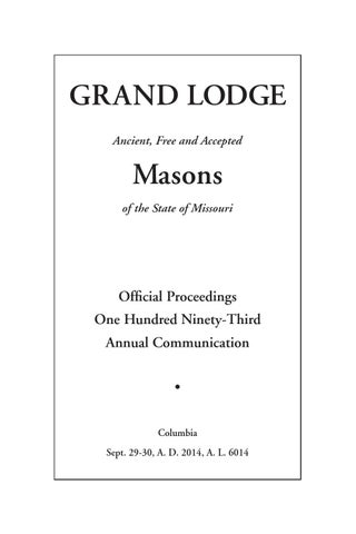 2495768f2517 2014 Proceedings - Grand Lodge of Missouri by Missouri Freemasons ...