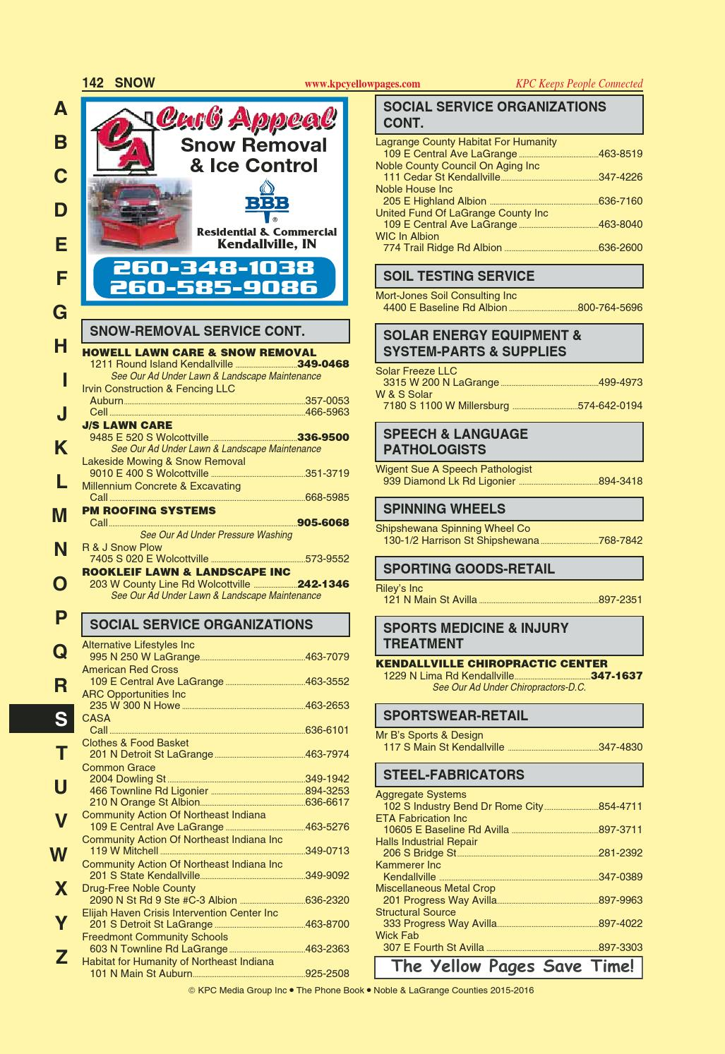 Yellow Pages Noble And Lagrange Counties 2015 2016 By Kpc Media Group