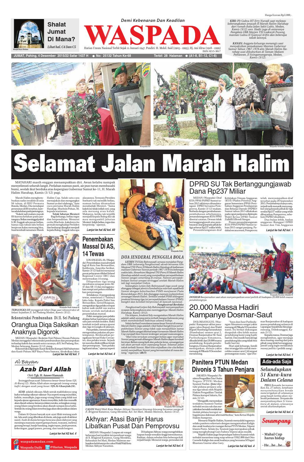 Waspadajumat 4 Desember 2015 By Harian Waspada Issuu Produk Umkm Bumn Bolu Gulung Hj Enong