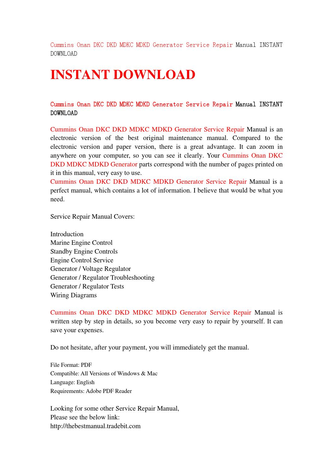Marine Voltage Regulator Wiring Diagram Cummins Onan Dkc Dkd Mdkc Mdkd Generator Service Repair Manual Instant Download By Jhsjefn7 Issuu