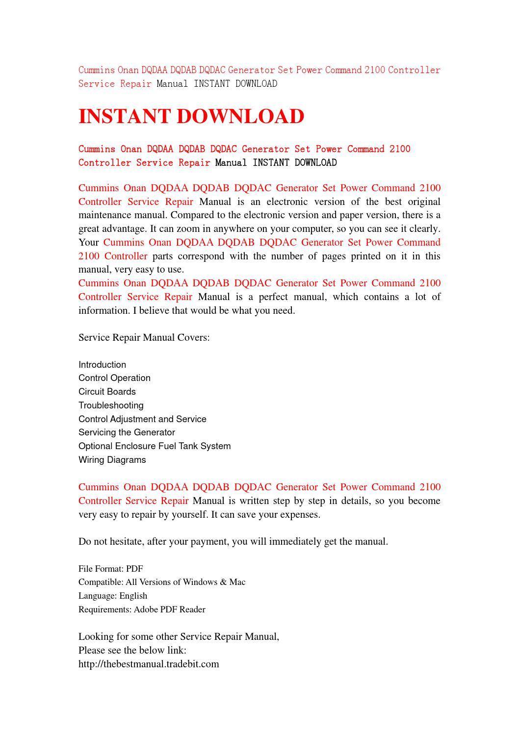 Cummins onan dqdaa dqdab dqdac generator set power command 2100 controller service  repair manual ins by jhsjefn7 - issuu