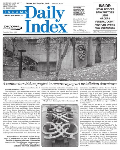 Tacoma Daily Index, December 04, 2015 by Sound Publishing