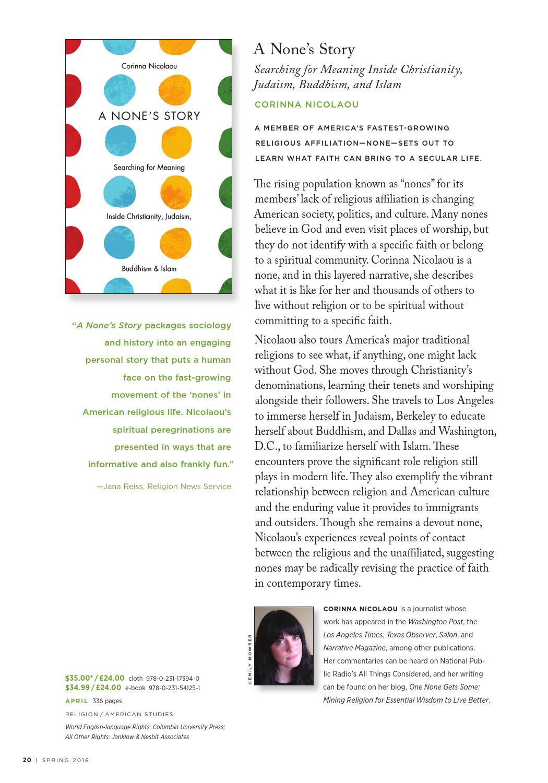 Columbia University Press Spring 2016 Catalog by Columbia