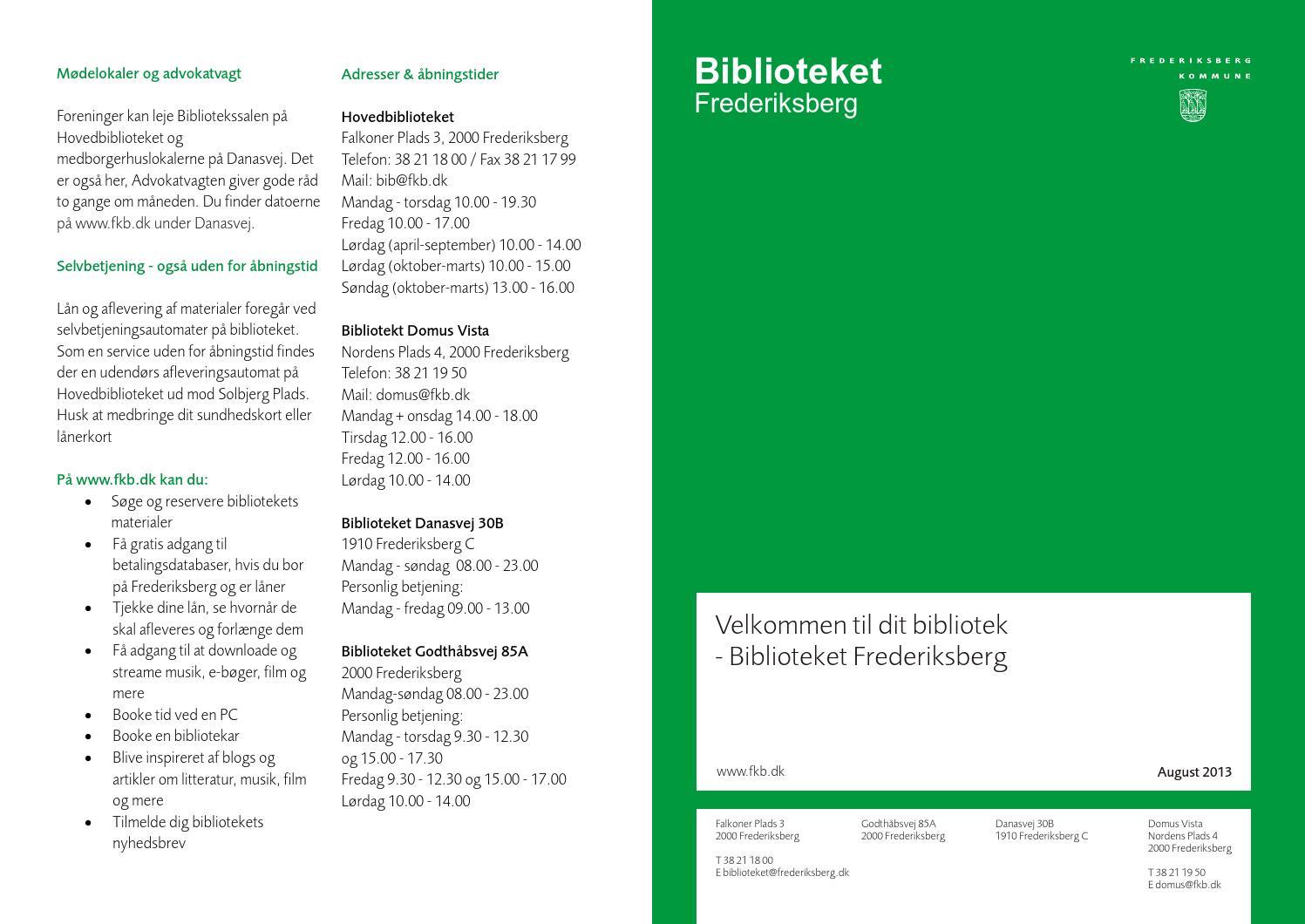 Velkommen Til Biblioteket Frederiksberg By Frederiksberg Bibliotek