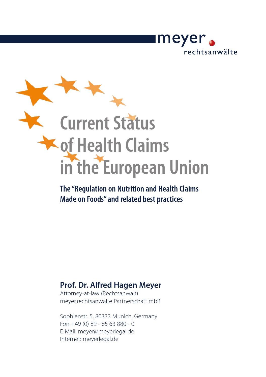Current Status of Health Claims in the European Union by meyer ...