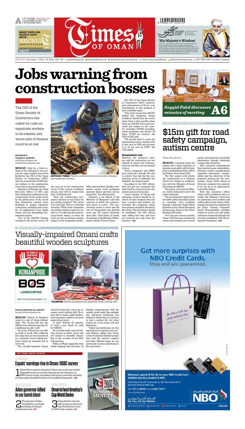 Times of Oman - December 7, 2015 by Muscat Media Group - issuu