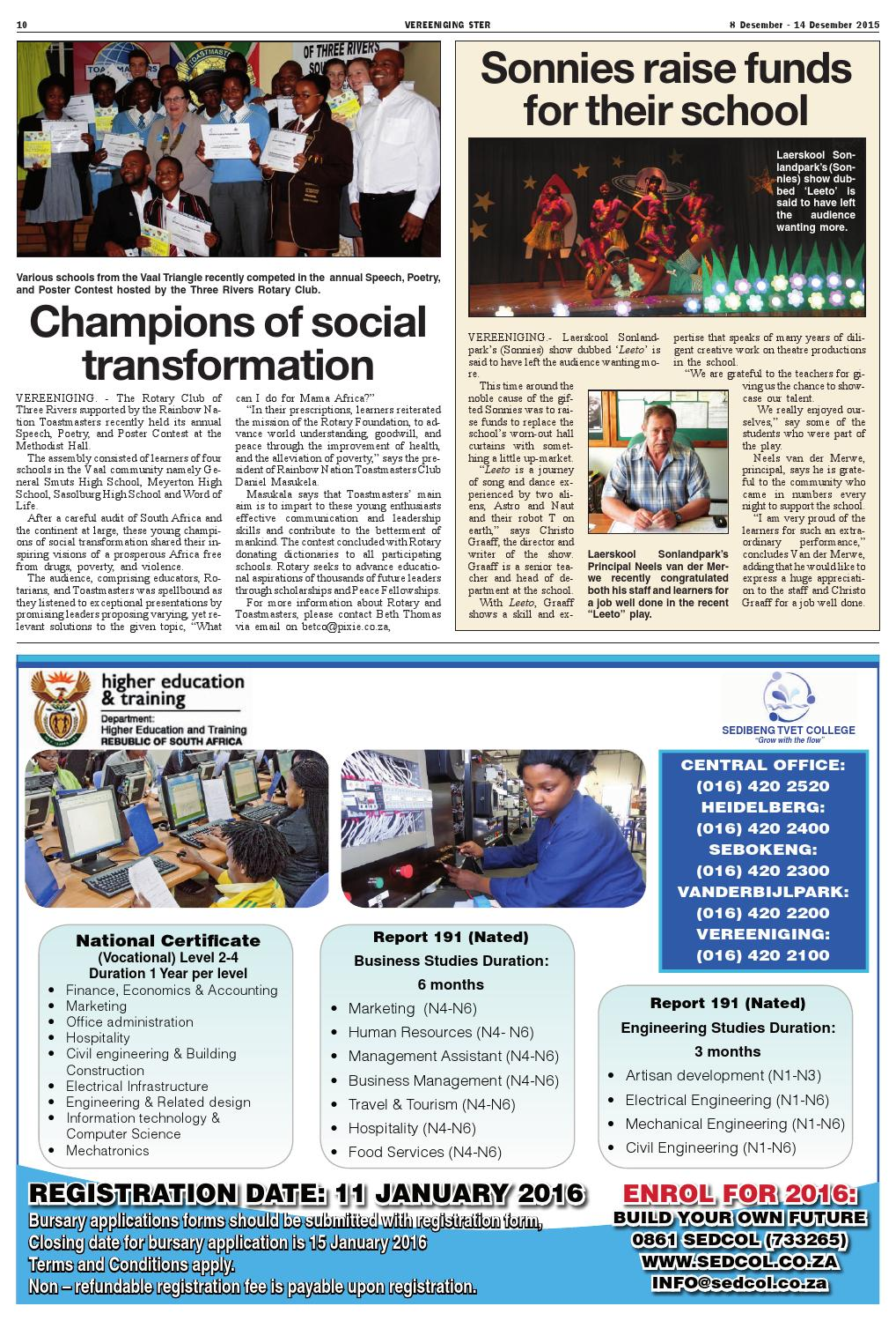 Vereeniging Ster 8 - 14 December 2015 by Vaalweekblad - issuu