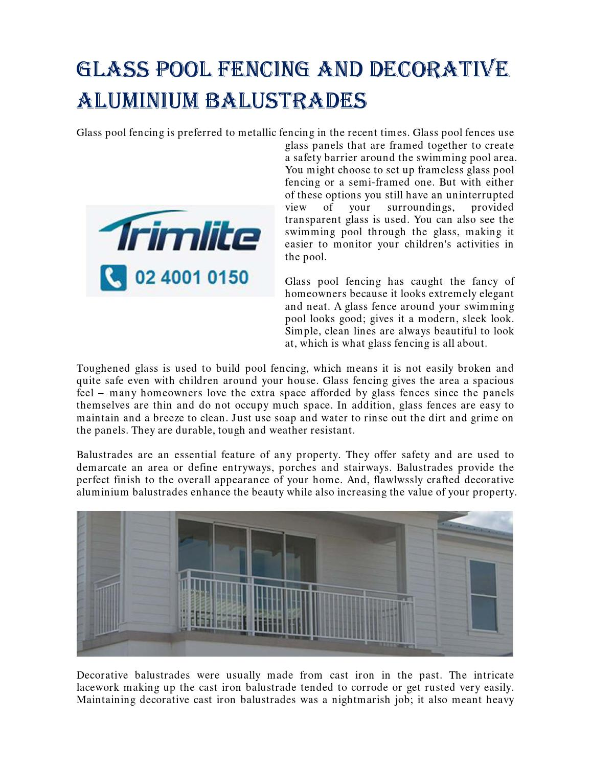 Glass Pool Fencing And Decorative Aluminium Balustrades By Trimlite