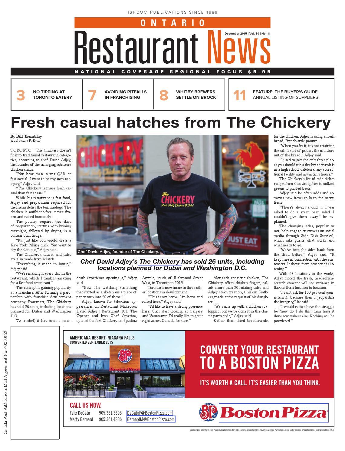 Ontario Restaurant News - December 2015 by Ishcom Publications - issuu