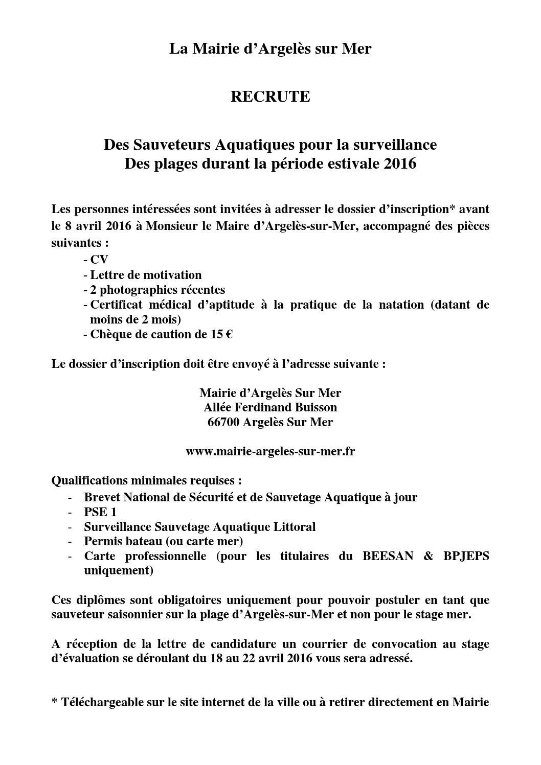 annonce recrutement sauveteur aquatique by argel u00e8s-sur-mer
