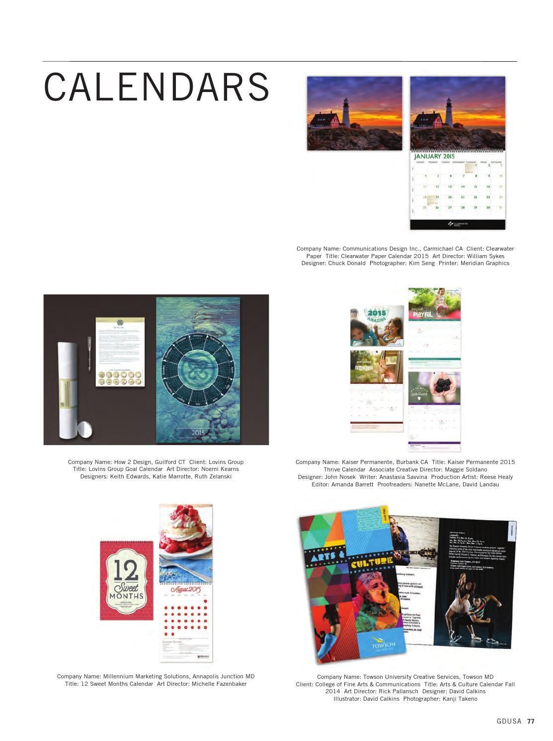 Towson Calendar.November December 2015 Gdusa Magazine By Graphic Design Usa Issuu