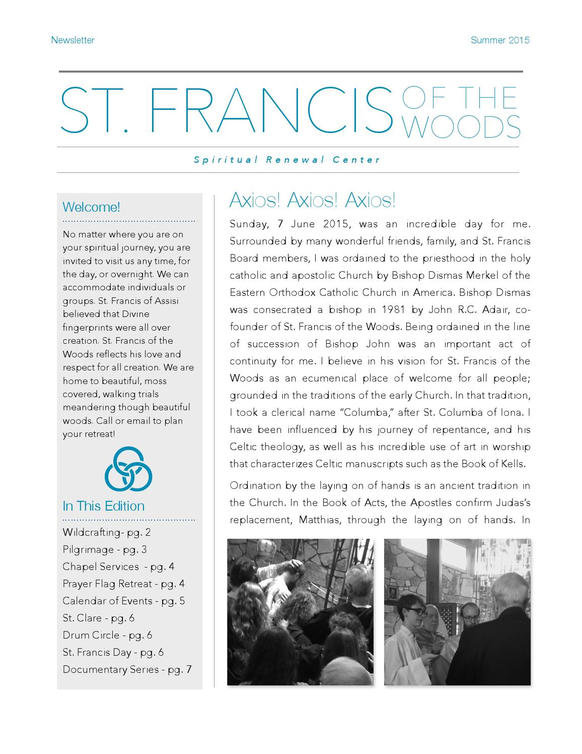 Newsletter summer 2015 by St  Francis of the Woods - issuu