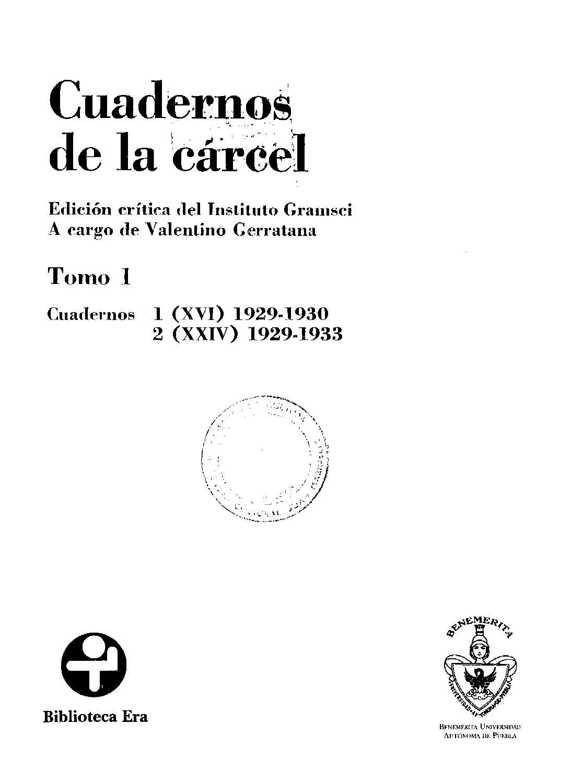 Gramsci cuadernos de la carcel 1 (ed crítica inst gramsci valentino ...