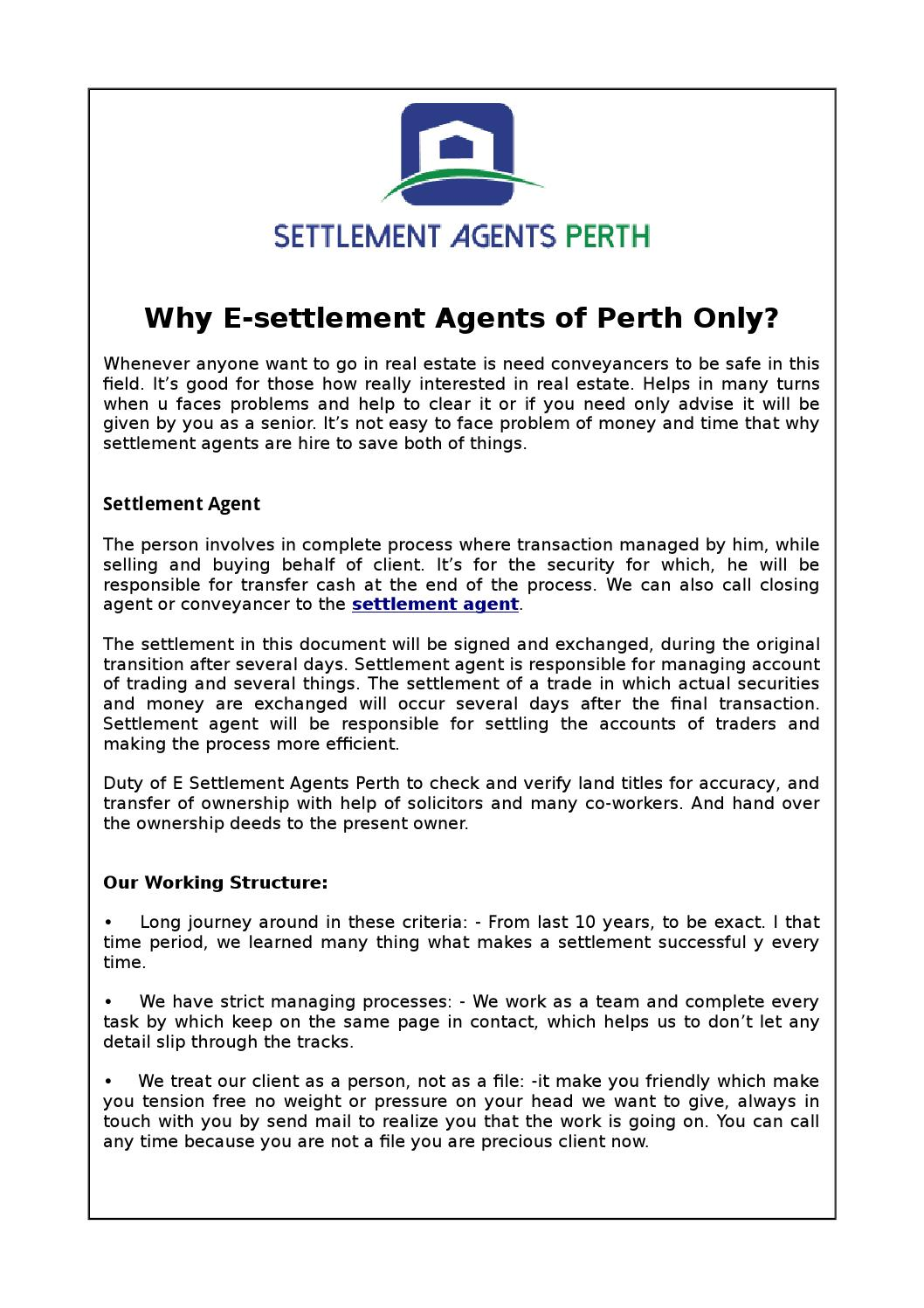 Why e settlement agents of perth only? by Margor Mand - issuu