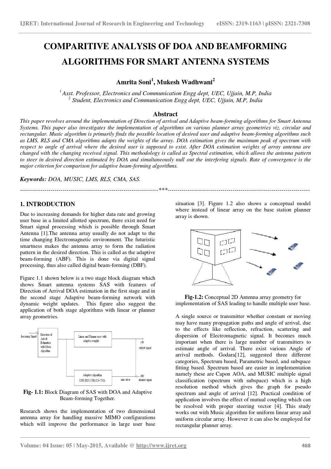 Comparitive analysis of doa and beamforming algorithms for smart