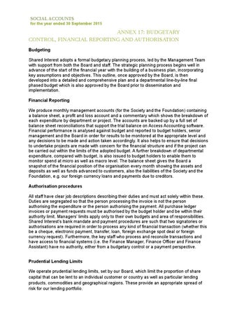 Appendix 17 budgetary control, financial reporting and