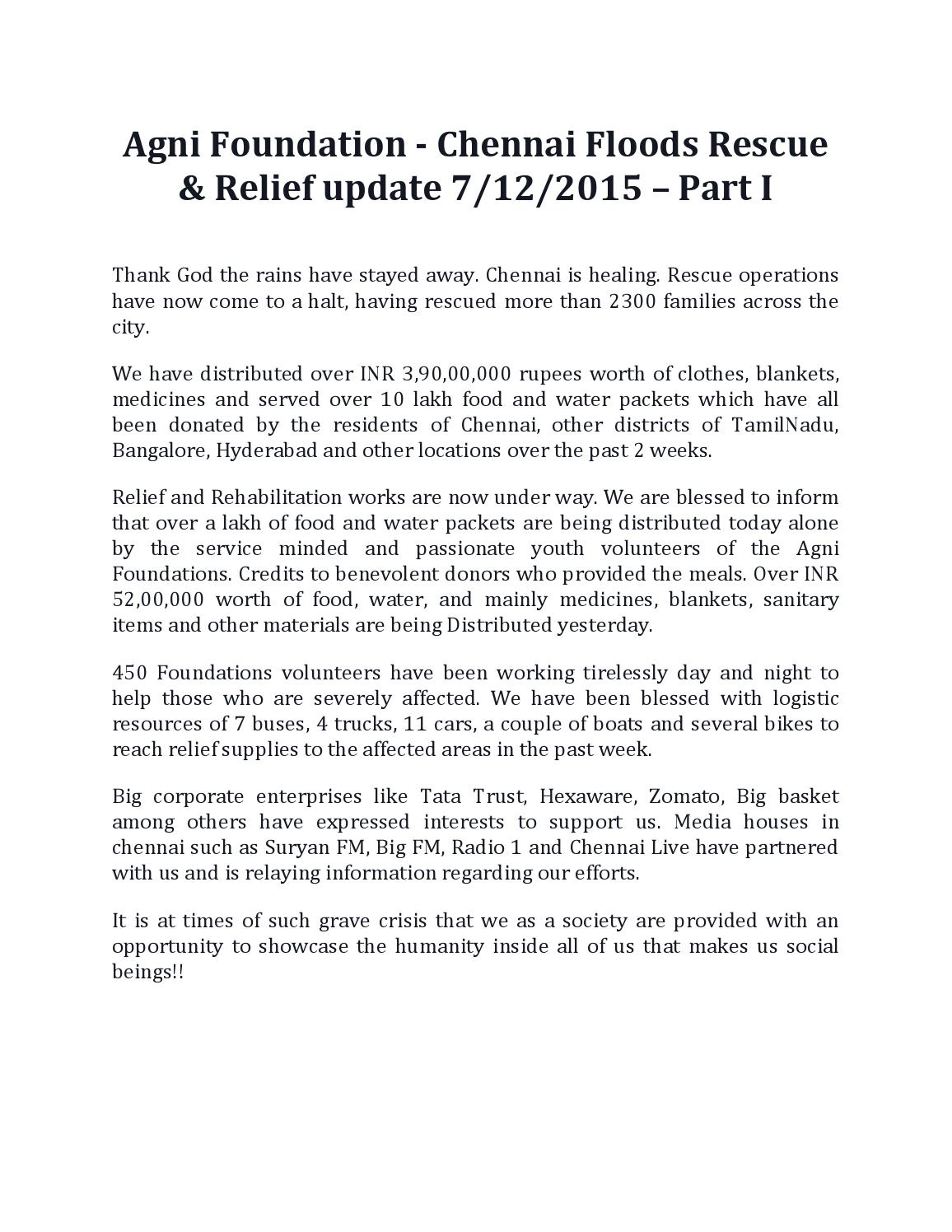 Agni foundation chennai floods rescue & relief update dec'7