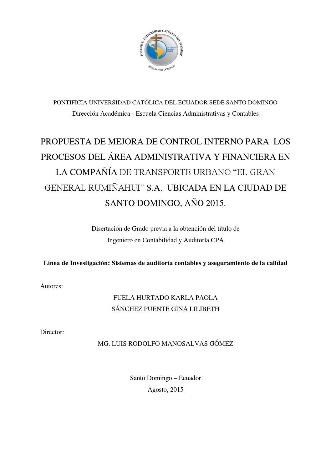 Propuesta de mejora de control interno para los procesos del Área ...