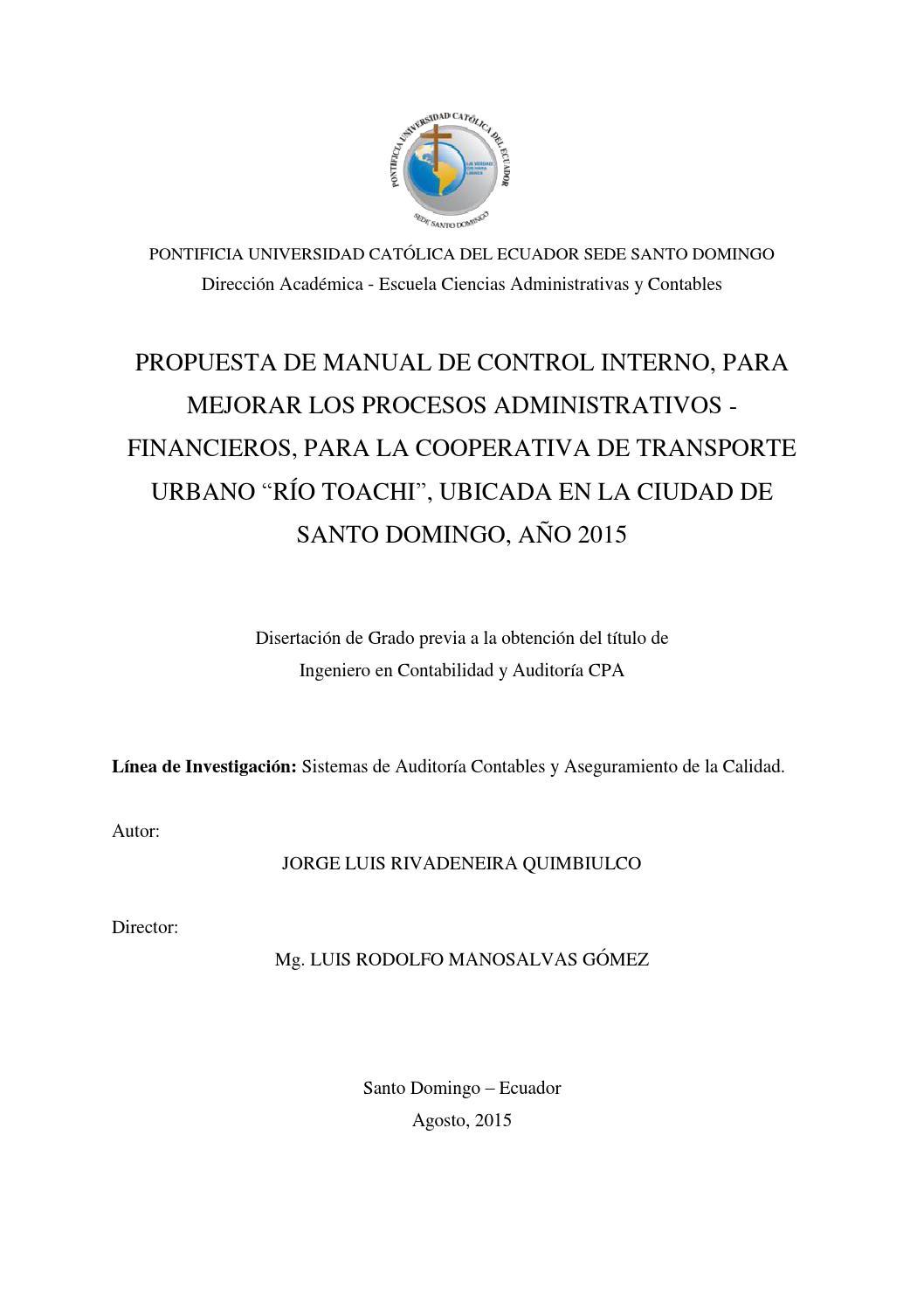 Propuesta de manual de control interno, para mejorar los procesos ...
