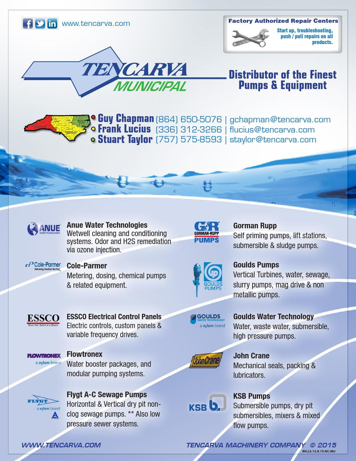 Tencarva Municipal Line Card - North Carolina by Tencarva