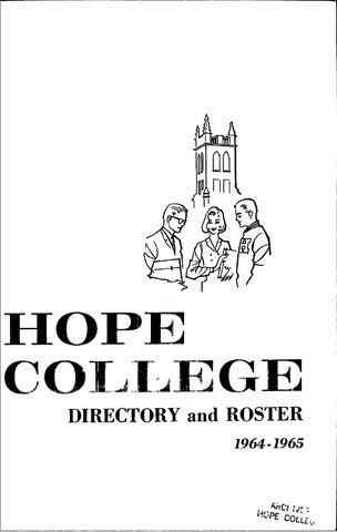 Hope College 1964 1965 Directory Roster By Hope College Library