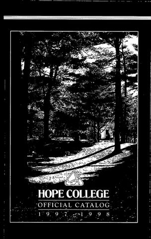 Hope College 1997 1998 Catalog By Hope College Library Issuu