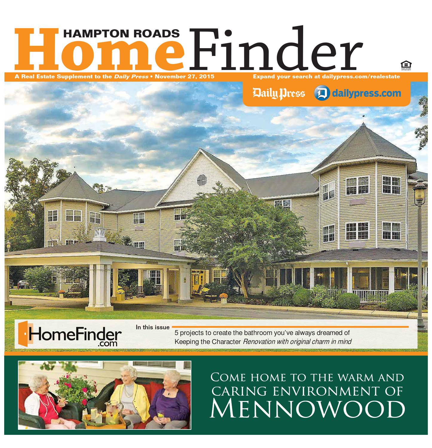 Home Finder For Rent: November 27, 2015 By Daily Press Media Group