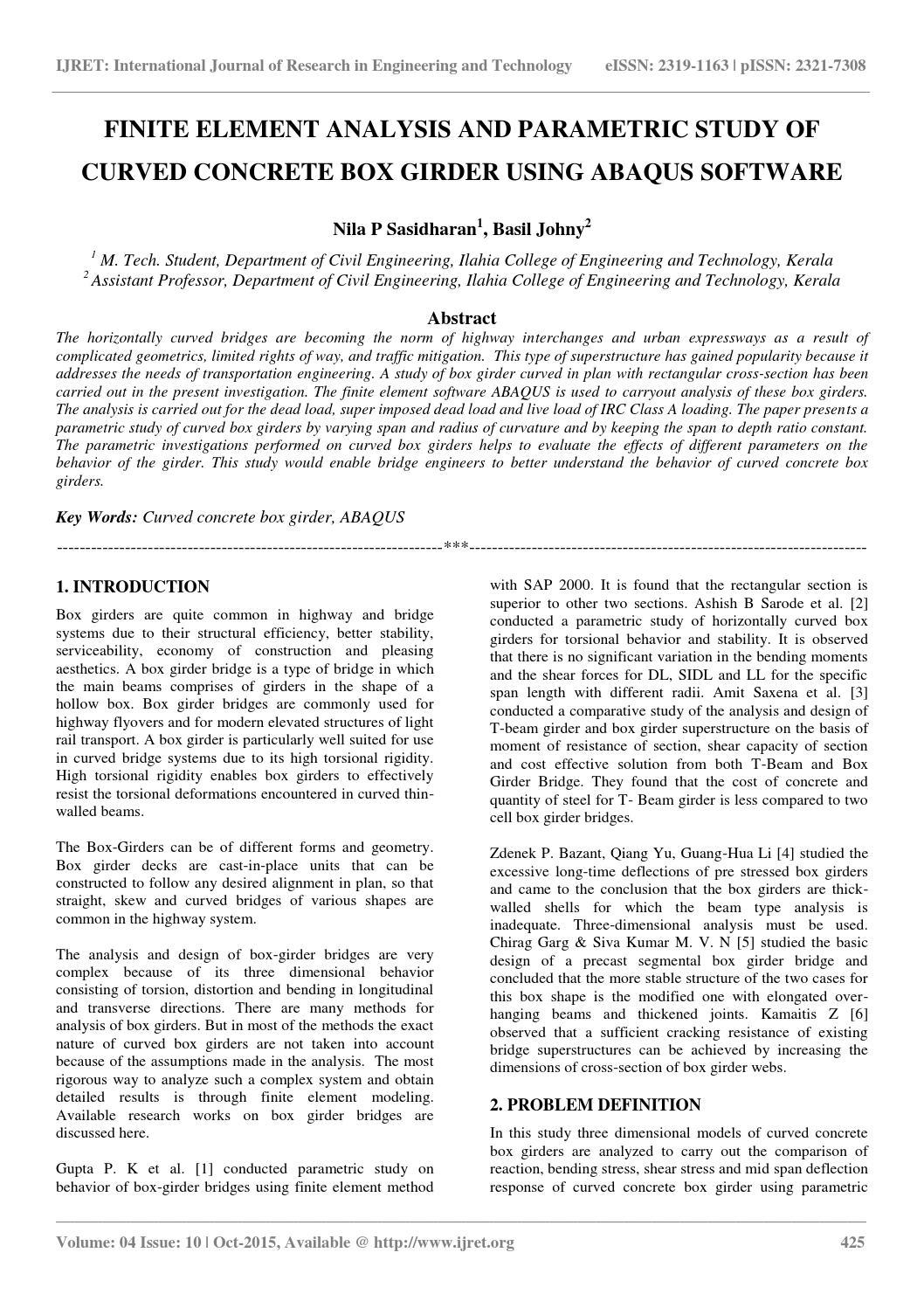 Parametric model in ABAQUS | iMechanica