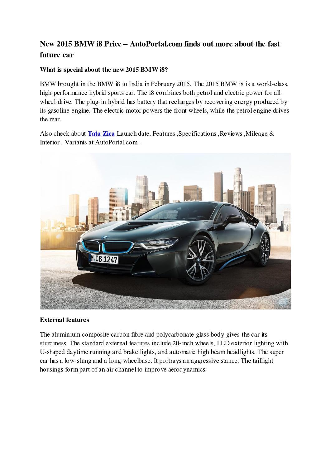 Bmw I8 Hybrid Electric Car Price In India Bmw I8 Price In India