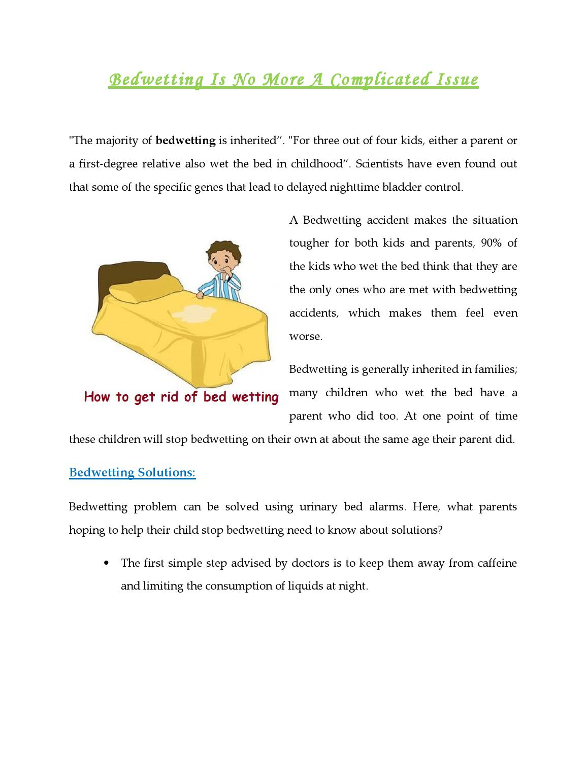 Bedwetting Is No More A Complicated Issue By Drybuddy Issuu