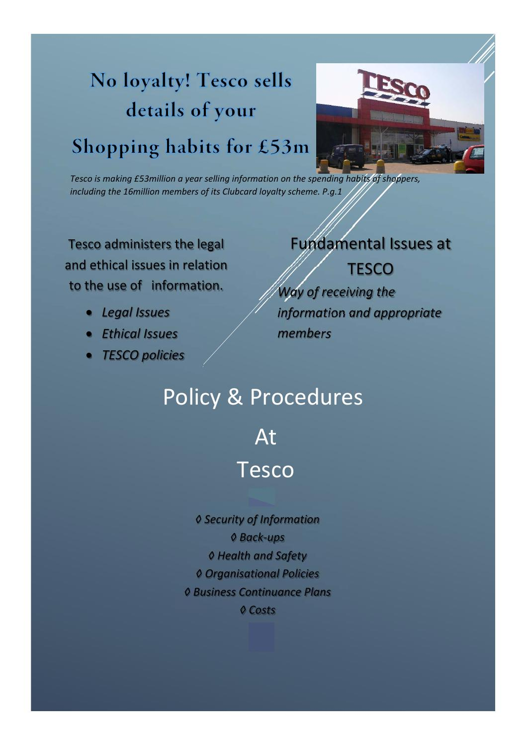 ethical concerns facing the communities of tesco