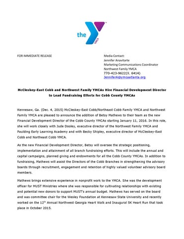 McCleskey-East Cobb and Northwest Family YMCAs Hire