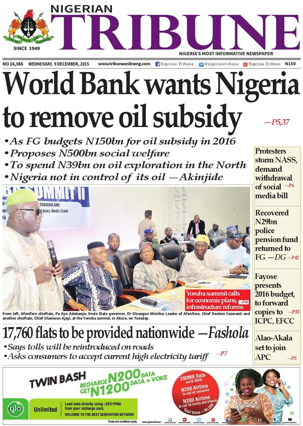 9th December 2015 by Nigerian Tribune - issuu