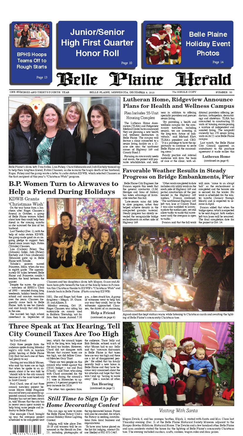 Belle plaine herald december 9, 2015 by Belle Plaine Herald - issuu