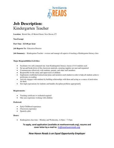 Job Description Kindergarten Teacher 11 19 15ed By New Haven Reads